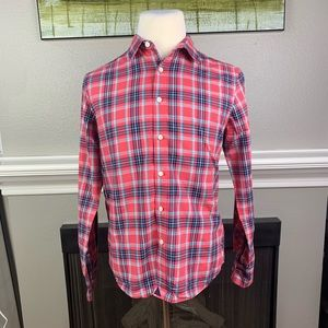 Untuckit Red/Org Striped LS Button Up Shirt Sz M